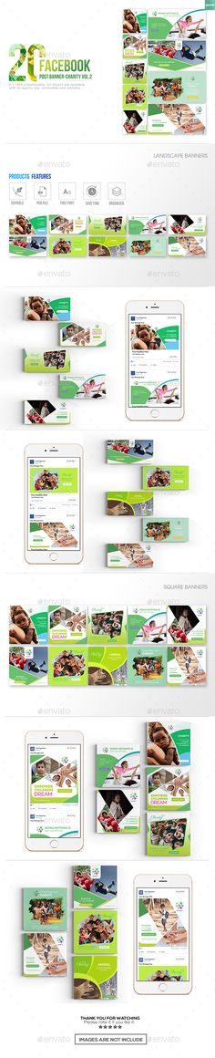 20 Facebook Post Banner Charity 02 — Photoshop PSD #event cover #volunteer • Download ➝ https://graphicriver.net/item/20-facebook-post-banner-charity-02/20409833?ref=pxcr