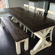 One of our more popular tables off of etsy. This Post Trestle is a beautiful base. This table comes standard in Pine. Hardwood table will be Alder. All wood types are available upon request. Definitely unique, this table will turn the heads of everyone that walks through the door. Standard size is 6, 7 and 8 long x 33 wide. Please leave your preferred stain color in the comments section at checkout. Benches and chairs are available upon request. This table can only be hand delivered. We love…