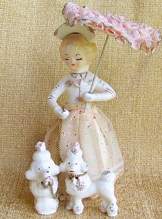 vintage Lady with a pair of poodles - I've got the poodles, looking for the vintage Lady