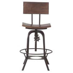 This adjustable height bar stool boasts a contemporary design. Its solid wood seat and full metal legs make it durable. With a comfortable seat back and a place to rest your feet, you are sure to find yourself enjoying this chair for years to come. This modern bar chair makes a great piece for any room.