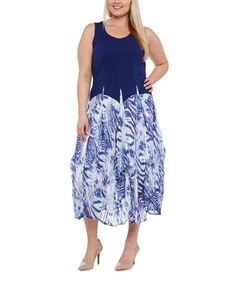 Look at this Vasna Blue Jungle Midi Dress - Plus on #zulily today!