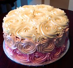 Pink ombre rosette birthday cake. White Rock BC Nut-free Bakery