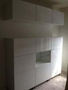 Trenton IKEA Besta Installation. Inspiration for layout with a split between upper and lower units.
