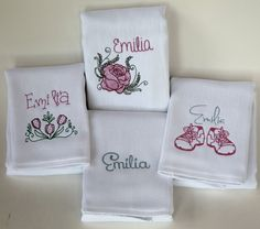 Custom Embroidered Personalized Baby Girl Burp Cloth Set of 4