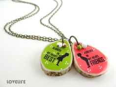 Best Friends Friendship Necklace - Sister Couple Necklace Pendant - Custom Handmade Art Jewelry