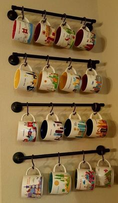 Make your coffee mug storage as unique as possible! Read this cool DIY coffee cu… Make your coffee mug storage Coffee Mug Storage, Coffee Mug Display, Coffee Mug Holder, Coffee Cups, Coffee Cup Rack, Coffee Maker, Coffee Coffee, Coffee Machine, Home Decor Ideas