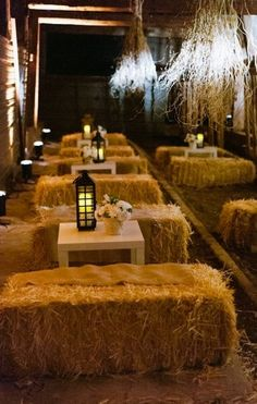 Use hay bales to create cozy ceremony seating. See also: Country-inspired décor from Huffpost.com