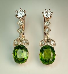 RARE Russian 2.5 ct + 2.5 ct Demantoid Earrings - Antique Jewelry | Vintage Rings | Faberge Eggs