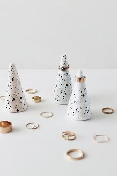We're loving these speckled ring cones by Almost Makes Perfect. Can you believe they're made from polymer clay?! #DIY