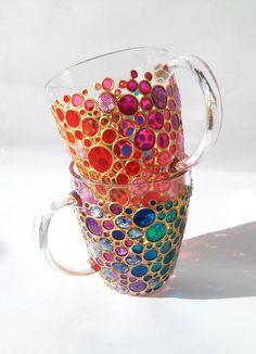 Set of 2 Hand painted Suncatcher Coffee Mugs Multi by ArtMasha