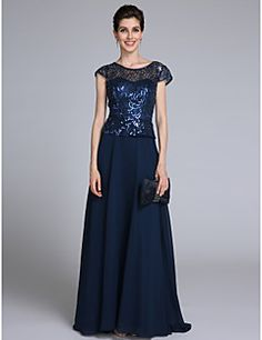 2017 Lanting Bride® Sheath / Column Mother of the Bride Dress Floor-length Short Sleeve Chiffon with Sequins – USD $ 285.00