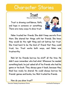 Reading comprehension worksheet trust character education worksheets for first grade English Stories For Kids, Moral Stories For Kids, Short Stories For Kids, Learn English Words, English Lessons, First Grade Reading Comprehension, Reading Comprehension Worksheets, Reading Fluency, Reading Practice