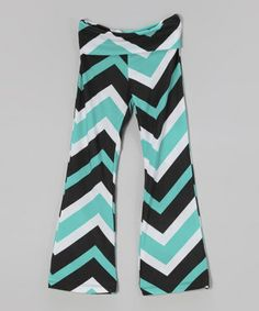Teal & Black Zigzag Palazzo Pants - Girls
