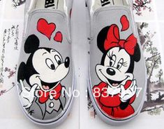 Free shipping Mickey Mouse hand-painted children's canvas shoes slip-on sneakers for man and woman