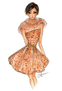 This is a print of a fashion illustration inspired by a look from the Elie Saab Fall 2014 Couture collection, originally done in prismacolor markers, ink