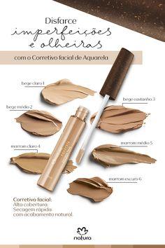 Quer disfarçar imperfeições e olheiras com um acabamento natural? O Corretivo Facial de Natura Aquarela tem uma textura cremosa, com alta cobertura, secagem rápida e fácil aplicação.