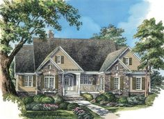 Country House Plan with 2124 Square Feet and 4 Bedrooms from Dream Home Source | House Plan Code DHSW076092