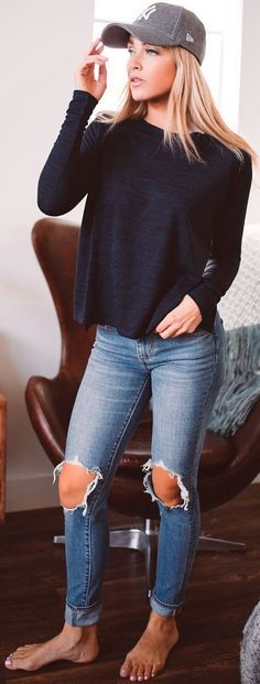 #winter #fashion /  Black Knit + Destroyed Skinny Jeans