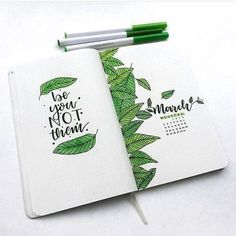 Green bullet journal spreads Are you looking for a specific color for your new monthly theme? How about some lush green! Amazing green bullet journal themes for you Bullet Journal Spreads, March Bullet Journal, Bullet Journal Ideas, Bullet Journal Aesthetic, Bullet Journal Writing, Bullet Journal Layout, Bullet Journal Inspiration, Bullet Journals, Bullet Journal Leaves