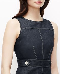 $129.00  94%Cotton 4%poly 2% elastain Thumbnail Image of Color Swatch 1878 Image of Denim Sheath Dress