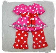 Boutique Wholesale Baby Girls Valentines Clothing Sets Kids Dot 2pcs Suits Clothes Shirt with Ruffle Pants Outfits Sets