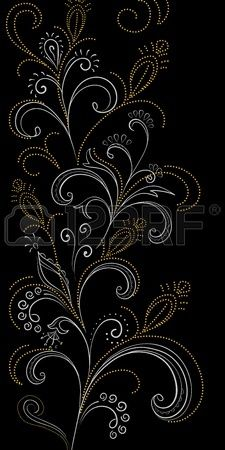 Abstract floral background, symbolical gold and white flowers on black. Hand Embroidery Design Patterns, Hand Embroidery Projects, Embroidery Motifs, Beaded Embroidery, Machine Embroidery Designs, Canvas Painting Tutorials, Dot Art Painting, Fabric Flower Headbands, Art Perle