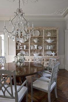 HouseTour:TillinghastEstate - Design Chic Gray chairs dark table