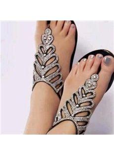 Amazing Rhinestone Black PU Flat Sandals