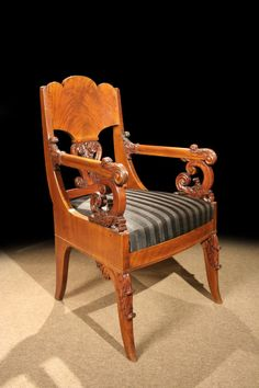Handsome Russian Empire Neoclassical Mahogany Armchair, Circa 1820 image 2