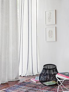 Black & White light nature - SANTANA fabric in linen look