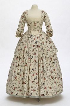 1770-1780.  Chintz dress, fabric from Coromandel Coast, India; tailoring British.  Museum no. 229
