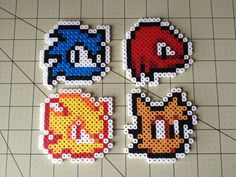 Sonic the Hedgehog Bead Sprite Set (Sonic, Tails, Knucles,Supersonic) by ToughTurtles