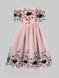 Embroidered Off Shoulder Party Dress - PINK XL Source by vandanapha dresses teenage Cute Prom Dresses, Dance Dresses, Pretty Dresses, Homecoming Dresses, Beautiful Dresses, Casual Dresses, Short Dresses, Dresses Dresses, Best Party Dresses