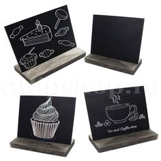 5 X 6 Inch Mini Tabletop Chalkboard Signs with Rustic Style Wood Base Stands, Set of 3 chalks Small Chalkboard Signs, Mini Chalkboards, Blackboards, Liquid Chalk Markers, Dry Erase Markers, Wooden Easel, Wood Sizes, Office And School Supplies, Rustic Style