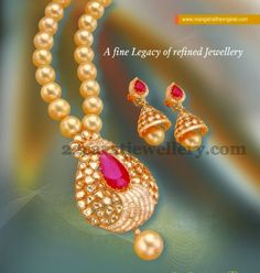 Jewellery Designs: South Pearls Set with Jhumkas