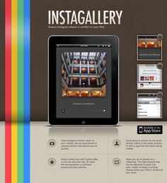 Instagallery - website design for iPad, iPhone apps, love colorful rainbow on the left side! #webdesign