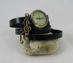 Montre Musique bracelet cuir au choix personnalisé par Cristalizade