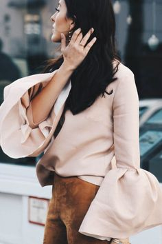 Statement Blush Pink Bell Sleeves
