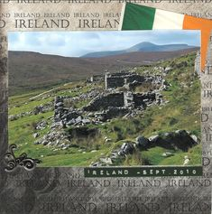 8x8 scrapbook layout Ireland album page 1