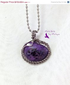 Purple and Black Charoite Gemstone Necklace With Argentium Sterling Silver Wire Wrapped Pendant,Bohemian Hand Wrap Steampunk