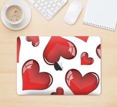 "The Glossy Red 3D Love Hearts Skin Kit for the 12"" Apple MacBook"
