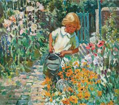 ⊰ Posing with Posies ⊱ paintings & illustrations of women & children with flowers - Dorothea Sharp ~ Watering The Garden