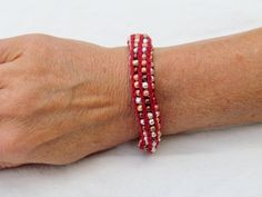 Handmade French Knit Beaded Bracelet  Red with by SpindleCityKnits