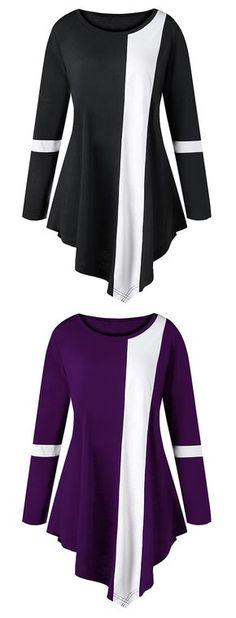 Plus Size Two Tone Color Asymmetric Top Praise Dance Wear, Praise Dance Dresses, Worship Dance, Dance Shirts, Dance Tops, Plus Size T Shirts, Plus Size Tops, Asymmetrical Tops, Professional Outfits
