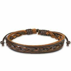 Black Leather Buckle Ring Bracelet Wristband Cuff K31