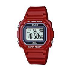 Casio Unisex Illuminator Digital Chronograph Watch, Red