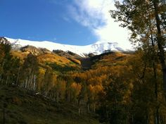 Snow on the peaks with beautiful Fall colors below.