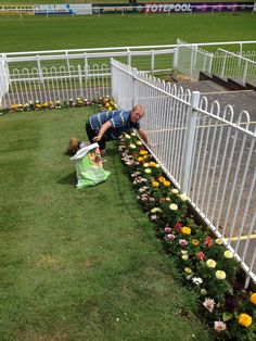 Work being done on the flower beds