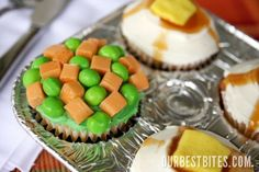 Tricky Carrots & Peas and Mashed potatoes and gravy Cupcakes for April Fools!  From ourbestbites.com