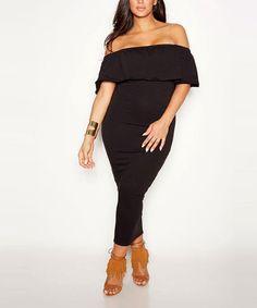 4e04d5122625 Black Ruffle Off-Shoulder Dress - Plus Too